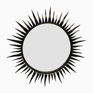 Circular Wrought Iron Framed Sunburst Mirror from Chaty Vallauris, 1950s