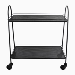 Serving Trolley in Black Perforated Metal by Matégot Mathieu, 1950s