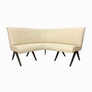 Ivory Skai and Wood Corner Sofa, 1950s