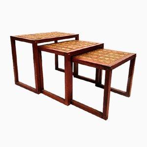 Tavoli ad incastro in teak e ceramica, anni '70