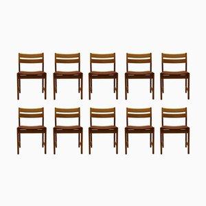 Dänische Vintage Esszimmer Stühle aus Eiche & Braunem Leder von Kurt Østervig für KP Mølber, 10er Set