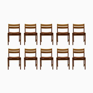 Vintage Danish Dining Chairs in Oak and Brown Leather by Kurt Østervig for KP Mølber, Set of 10