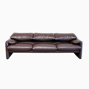 Model Maralunga Leather Sofa by Vico Magistretti for Cassina