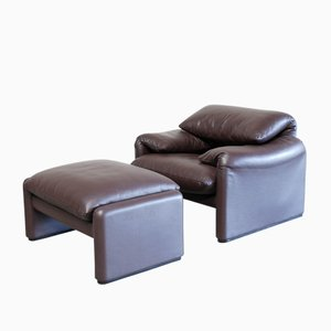 Model Maralunga Leather Lounge Chair by Vico Magistretti for Cassina