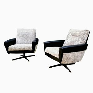 French Swivel Armchairs, 1960s, Set of 2