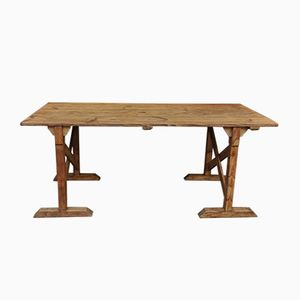 Vintage Fir Trestle Table, 1920s