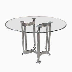 Mesa redonda cromada de metal y vidrio, años 70