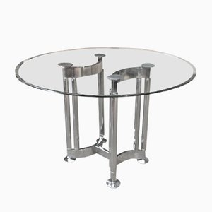 Table Ronde en Métal Chrome & Verre, 1970s