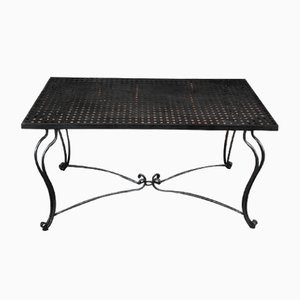 Perforated Metal Coffee Table with Forged Iron Feet, 1940s