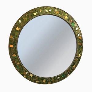 Specchio rotondo con mosaico in ottone e vetro fuso, anni '50