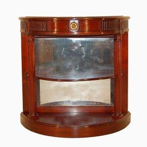 Console Antique Demi-Lune en Miroir et Acajou
