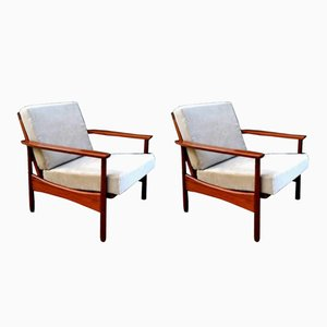 Mid-Century Scandinavian Teak Armchairs, Set of 2