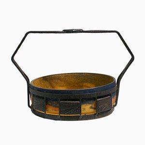 Cuenco Art Déco de hierro forjado con injertos de vidrio soplado moteado de Degué, años 30