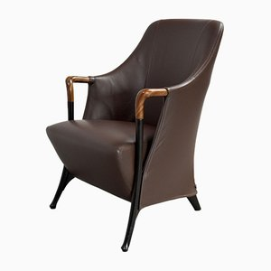 Progetti Leather Lounge Chair by Umberto Asnago for Giorgetti, 1986