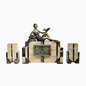 French Art Deco Clock Set with a Bronze Women Figure by Ballerte