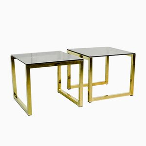 Mid-Century Hollywood Regency Cubic Side Tables with Smokey Glass Top, 1980s, Set of 2