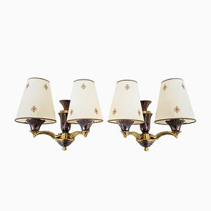 French Bronze Sconces, 1950s, Set of 2