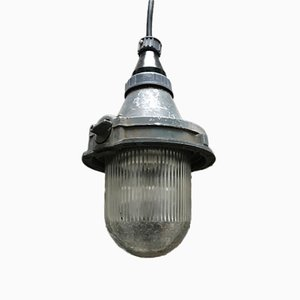 Industrial USSR Metal & Glass Ceiling Lamp