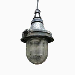 Lámpara de techo soviética industrial de metal y vidrio