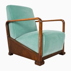 Vintage Art Deco Elm Lounge Chair in Velvet