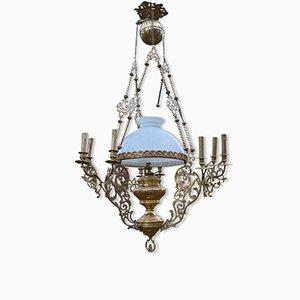 Lámpara de araña Napoleón III de bronce y latón, siglo XIX