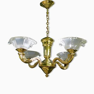 Art Deco Bronze Chandelier, 1930s
