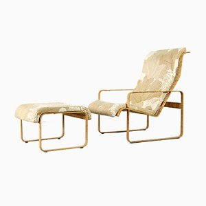 Wicker Lounge Chair with Ottoman from Kill International, 1970s