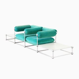 Modulares Mid-Century S420 Zwei-Sitzer Sofa mit Tischen von Verner Panton für Thonet