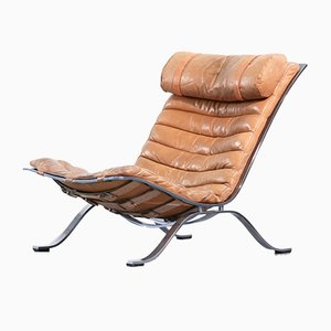 Leather Ari Lounge Chair by Arne Norell, 1960s