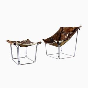 Vintage Kuhfell Stuhl und Ottoman von Kwok Hoi Chan für Steiner