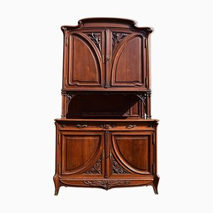 Art Nouveau Solid Walnut Double-Section Buffet, 1900s