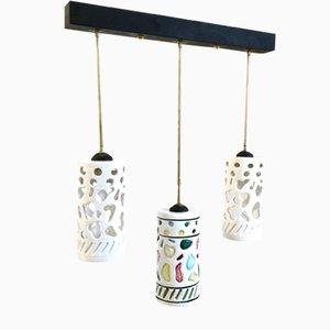 Lampada da soffitto in ceramica e ottone, Italia, anni '50