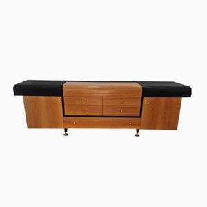 Credenza vintage in legno laccato nero e teak di Pierre Cardin