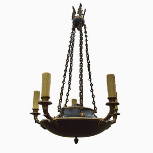 Antique Empire-Style Decorative Chandelier in Patinated Bronze
