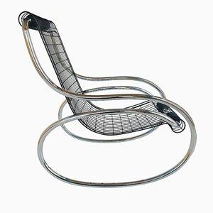 Rocking Chair en Fer et Chrome, 1970s
