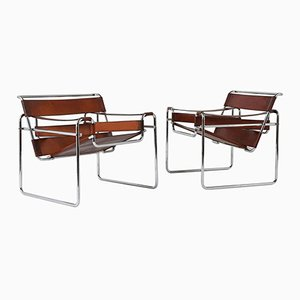 Mid-Century Wassily Lounge Chairs by Marcel Breuer, Set of 2