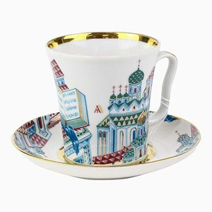 Russische Vintage Teetasse mit Unterteller von the Imperial Porcelain Factory of St Petersburg