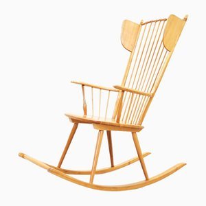 Rocking Chair Wingback Mid-Century par Albert Haberer pour Hermann Fleiner