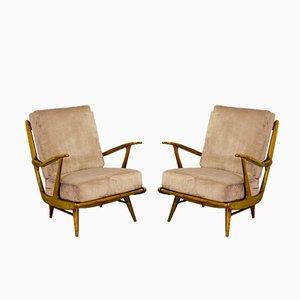 Mid-Century Sessel mit Sprossen Rückenlehne, 1950er, 2er Set