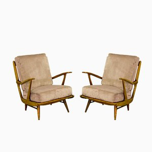 Mid-Century Spindle Back Lounge Chairs, 1950s, Set of 2
