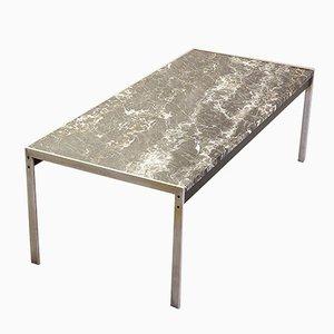 Tavolino da caffè in marmo nero e acciaio spazzolato di Kho Liangh per Artifort, anni '60