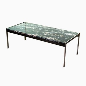 Black Marble and Brushed Steel Coffee Table by Kho Liangh for Artifort, 1960s