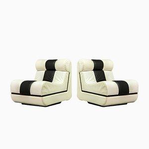 Italienische Mid-Century Leder Sessel in Schwarz & Weiß, 1970er, 2er Set