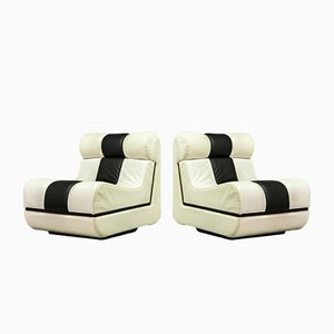 Mid-Century Italian Black and White Leather Lounge Chairs, 1970s, Set of 2