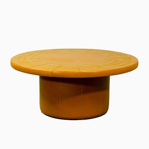 Mid-Century Cognac Leather Patchwork Coffee Table by Laauser, 1970s