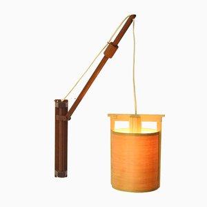 Lampada da parete Mid-Century regolabile in teak e pino