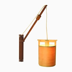 Mid-Century Adjustable Teak and Pine Wall Light
