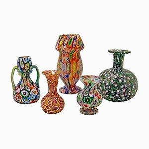 Set di 5 vasi antichi in vetro di Murano dei Fratelli Toso