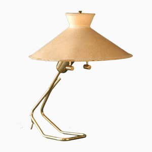Large Brass Table Lamp with Vellum Shade from Vereinigte Werkstätten, 1950s