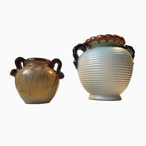 Steingut Vasen im Art Deco Stil von Knabstrup, 1930er, 2er Set